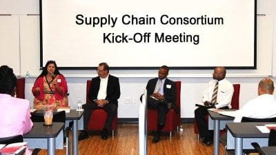 From left, panelists at Friday's Supply Chain Consortium Kickoff Meeting included Carla Morgan, Matt Kane, Torey Chambliss, and Michael Rudolph. The panel discussion was moderated by Winter Haven Economic Development Council Executive Director Bruce Lyon.
