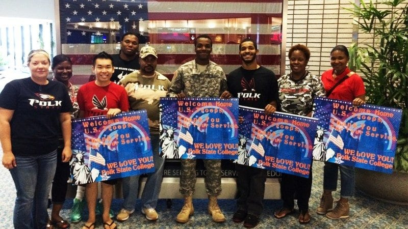 Members of Polk State Lakeland's Black Student Union spent Memorial Day welcoming service members at Tampa International Airport.