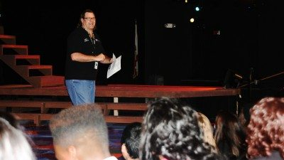 "Polk State Speech and Theatre Professor Paul Carbonell welcomes 375 middle- and high-school students to a special performance of ""The Fantasticks"" on Wednesday at Polk State Winter Haven."