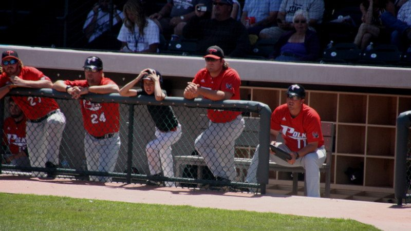 The Eagles dugout reacts to the game against Jefferson College, which ended with a 5-9 defeat.