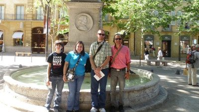 Polk State students (l-r) Chloe Hickey, Darian Byrd, Adam Bent, and Nathan Herbig (not pictured), accompanied by Polk State Professor John Barberet, recently traveled to Marseille and Paris, France, as the College's first exchange students.