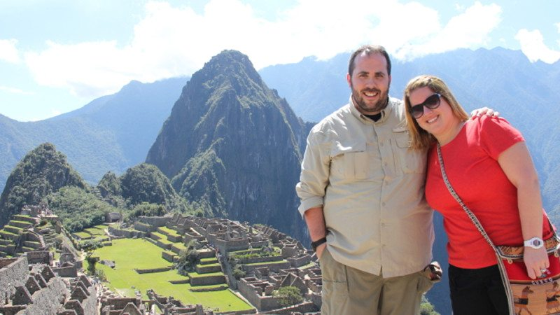 Patrick Phillips and Megan Dennis are pictured shortly after becoming engaged at Machu Picchu.