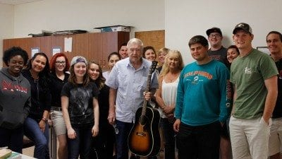 Florida Artists Hall of Fame inductee Frank Thomas sang about Florida's history and environment to Introduction to Environmental Science Students at the Polk State Lake Wales Arts Center on Oct. 28.