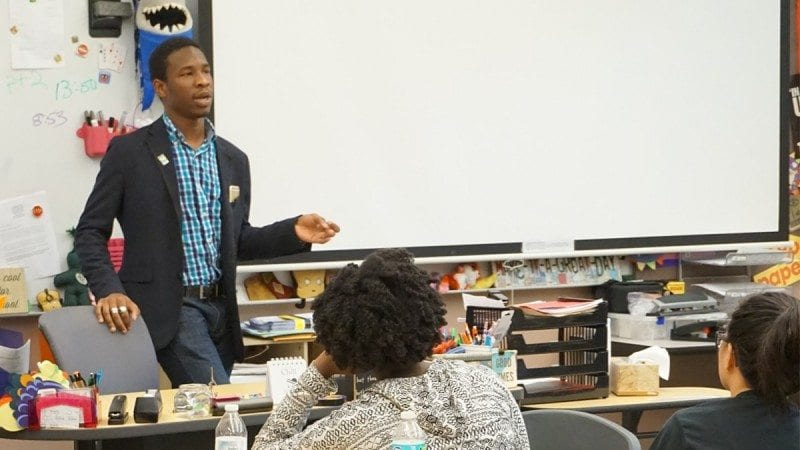 Polk State Chain of Lakes Collegiate High School graduate Victor Sims spoke with students at the high school on Wednesday. He shared his experiences as an intern on the Hillary Clinton campaign as well as his reasons for running for political office.