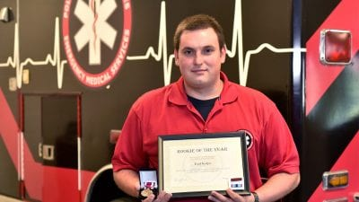 Polk State alumnus Earl Kulpa recently received the Rookie of the Year Award from Manatee County Emergency Medical Services.