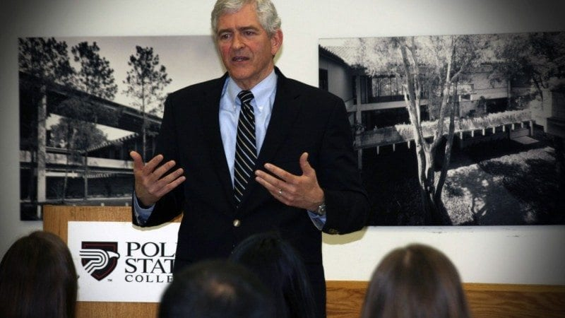 U.S. Rep. Daniel Webster talked with members of Polk's Student Government Association on Thursday, sharing his advice for a simple life and effective leadership.