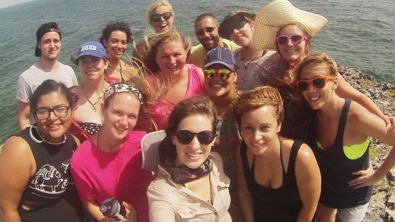A group of 11 Polk State students recently studied in the Bahamas. Front row from left Kaitlyn Perez, Alyssa St. Hilaire, Art Professor Holly Scoggins, Ami Rivera, Kyndil Rogers; second row from left, Krystal LaDonna, Amanda Tripp, Mariannette Figueroa, Brittany Killingsworth; back row from left, Bret Covey, Clarissa Gonzalez, Carolyn, the students' International Field Studies guide, Biology Professor Anthony Cornett, and Charissa Karr.