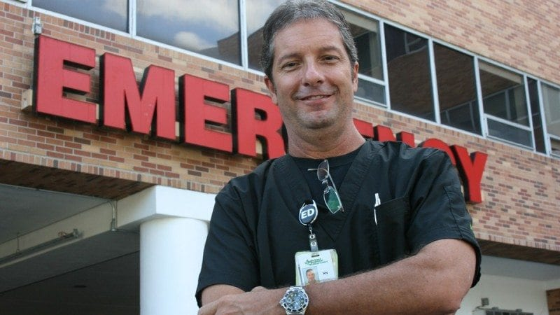 Two-time Polk State alumnus Greg Baisden is now a nursing supervisor at Lakeland Regional Medical Center.