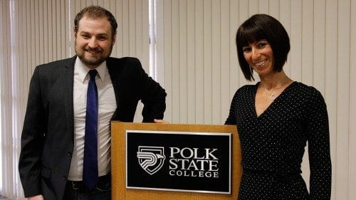 Polk State Speech and Debate Team member Jeffery James-Potts and coach Christina Gesmundo say the team helps students build confidence that will carry over into all aspects of their lives.
