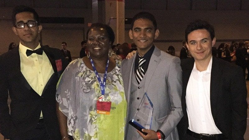 Polk State Lakeland Collegiate High School recently competed at the FBLA National Leadership Conference. From left, student Glen Abraham, advisor Patrice Thigpen, students Allen Oommen and Wade Weston.