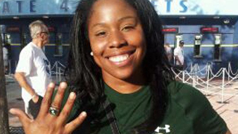 Kenshyra Jackson, former Polk State Softball player, shows off her World Series ring.