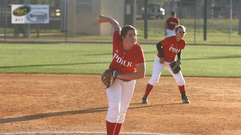 Polk State Softball pitcher Courtney Putnam boasts 100 strikeouts and an ERA of 1.84. Head Coach Jeff Ellis said pitching and defense will be key when the team heads to the state tournament this week.