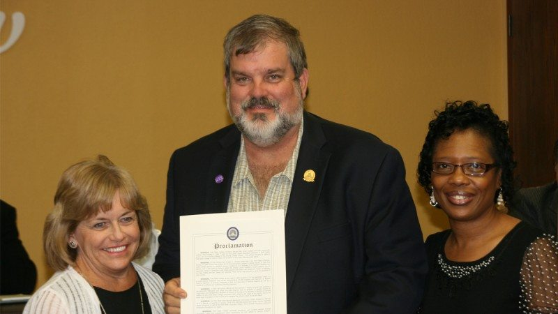 From left, Polk State President Eileen Holden, Bartow Mayor James Clements, and Director of Equity and Diversity Valparisa Baker. Clements presented the College with a proclamation during Monday's City Commission meeting to recognize its 50th anniversary.