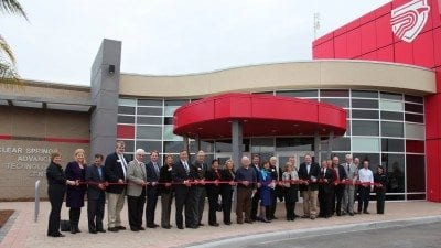 Supporters of the Polk State Clear Springs Advanced Technology Center cut the ribbon on the new building in January.