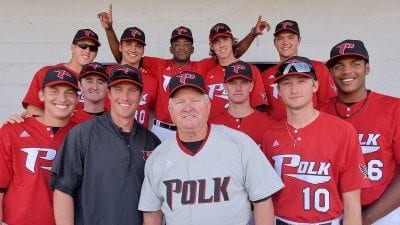 Jim Selph, center, a member of Polk State's first baseball squad, threw the ceremonial first pitch during Saturday's game against Daytona State.