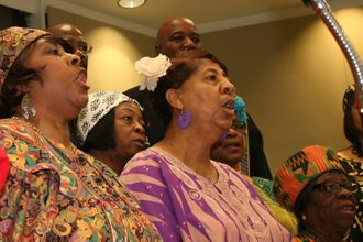 Attendees of Polk State's Ninth Annual Dr. Martin Luther King Jr. Celebration Breakfast on Tuesday were entertained by performers including the Sankofa Singers.