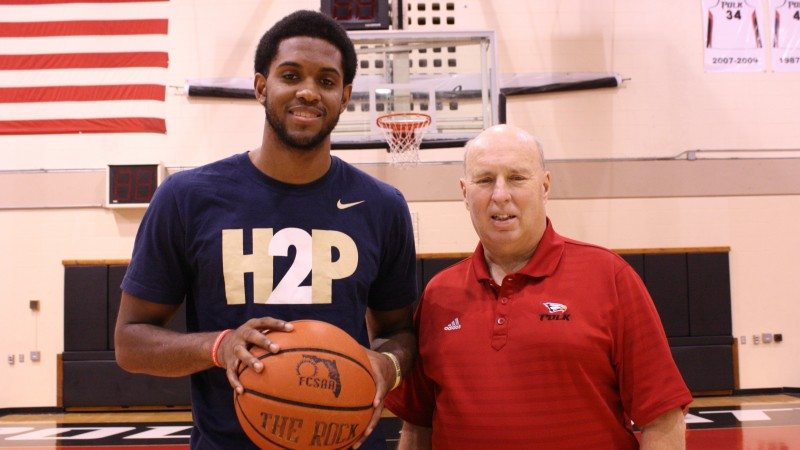 University of PIttsburgh recruit Sheldon Jeter (L) credits Polk State and basketball head coach Matt Furjanic with helping him rediscover his love for the game.