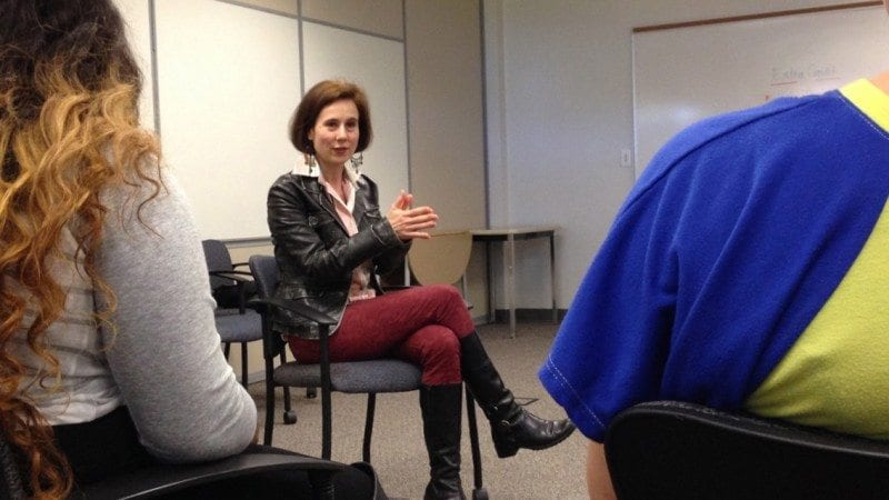 "Actress Libby Skala talks to students in Acting II at Polk State Lakeland. She will perform one of her award-winning shows, ""A Time to Dance"" at 7 p.m. on March 22 at the Polk State Lake Wales Arts Center."