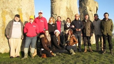 Students and faculty members from Polk State recently traveled to England to participate in an archaeological dig at Stonehenge led by researcher David Jaques, fourth from left.