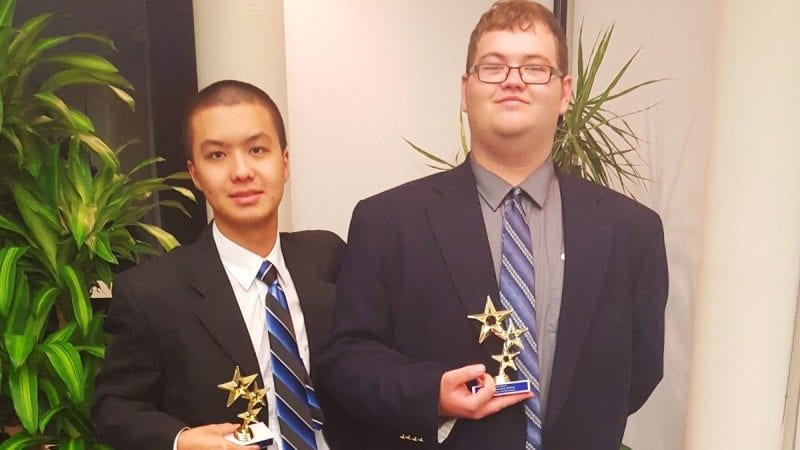 Polk State Speech and Debate team members Jinming Chen (L) and Toby Pelland were named top non-advancing novices in parliamentary debate at the 16th Annual Star Invitational at Florida State College at Jacksonville in November.