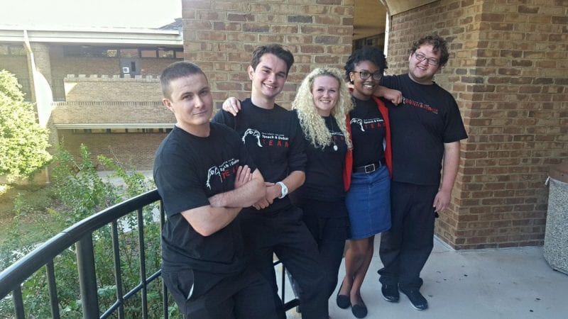 Members of the Polk State Speech and Debate Team include, from left, Hank Campbell, David Gregorat, Emili Woodhouse, Miracle Murff, and Toby Pelland.