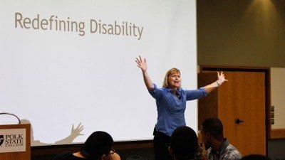 Tiano Tozer spoke to students and employees at Polk State Winter Haven on Tuesday as part of Disability Awareness Month.