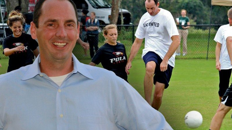 Polk State History Professor Brad Massey scored two goals during the College's annual United Way soccer match.