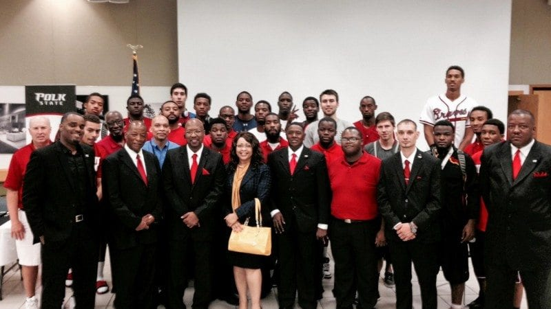 Members of Polk State's basketball and baseball teams attended the Student African American Brotherhood's recent luncheon to focus on building personal character.