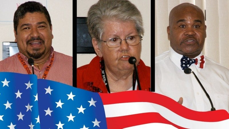 Speakers at Monday's Veterans Day event in Lakeland included, from left, Freddie Acevedo, Annette Hutcherson and Byron Loyd. All three will speak at Winter Haven's event on Tuesday morning.